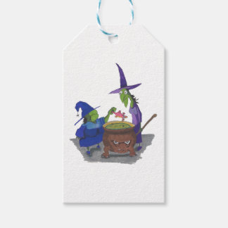 2 Witches brewing up potion in Cauldron Halloween Pack Of Gift Tags