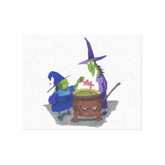 2 Witches brewing up potion in Cauldron Halloween Stretched Canvas Print