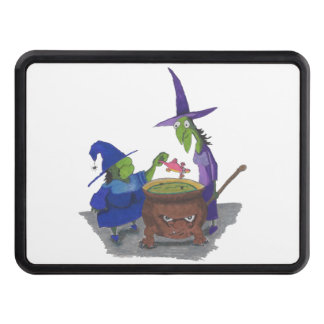 2 Witches brewing up potion in Cauldron Halloween Trailer Hitch Cover