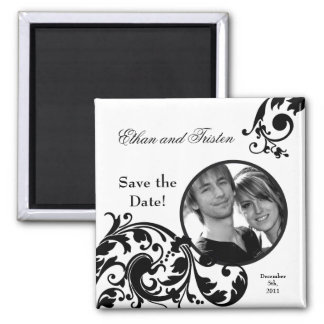 """2""""x2"""" Save the Date Magnet Black White Floral"""
