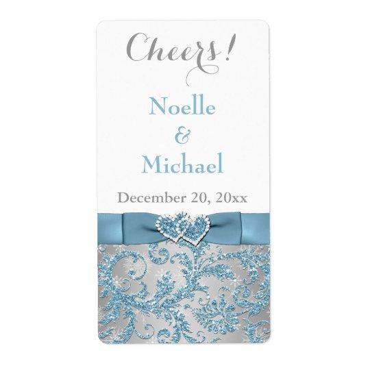 """2"""" x 3.75"""" Winter Wonderland Wedding Wine Label"""