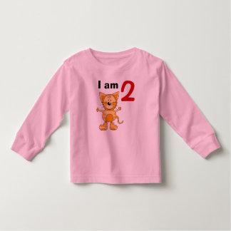 2 year old birthday boy/girl gift (orange cat) t-shirt