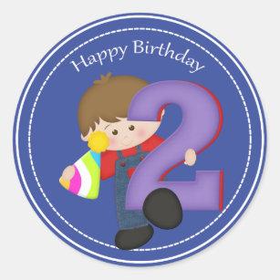 2 Year Old Boys Happy Birthday Sticker