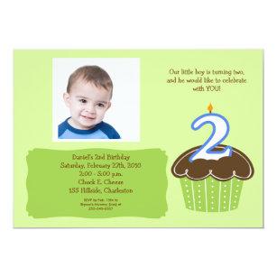 2 Year Old CUPCAKE PHOTO BIRTHDAY INVITE