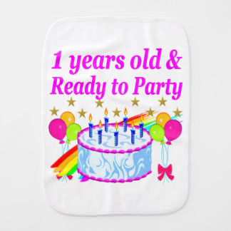 2 YEARS OLD AND READY TO PARTY BIRTHDAY GIRL BABY BURP CLOTHS
