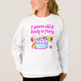 2 YEARS OLD AND READY TO PARTY BIRTHDAY GIRL SWEATSHIRT