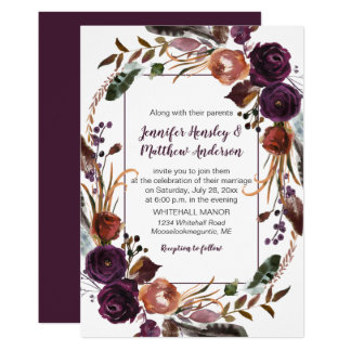 #2Butter Rum Rust Dark Purple Roses Wreath Wedding Card