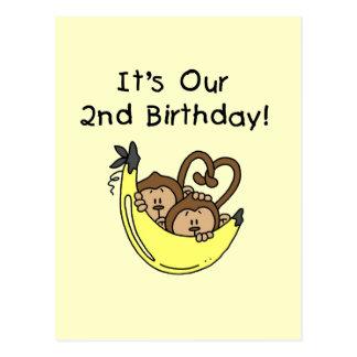 2ème anniversaire de garçons de singe jumeau de ba cartes postales