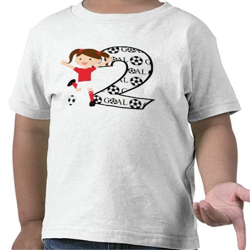 2ème Rouge et blanc de fille du football d'anniver T-shirts