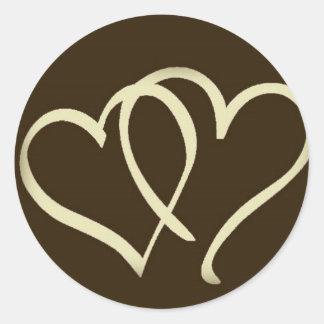 2hearts-Ivory Round Sticker