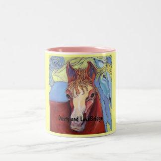 2Horses, Dusty and LoveBridge - Customized Two-Tone Coffee Mug