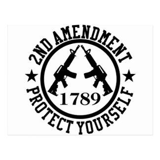 2nd Amendment AR15 Protect Yourself Black Postcard