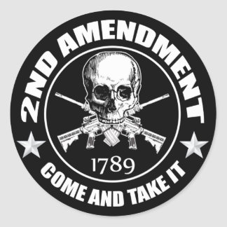 2nd Amendment Come And Take It Skull And AR's Classic Round Sticker