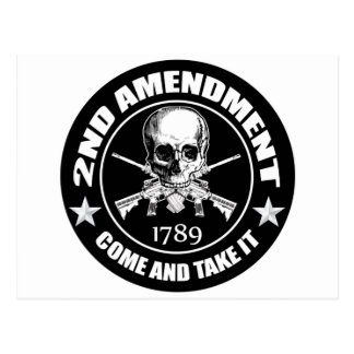 2nd Amendment Come And Take It Skull And AR's Postcard