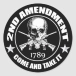 2nd Amendment Come And Take It Skull And AR's Round Sticker
