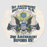 2nd Amendment Defends  Gun-Toting Eagle Gear Round Stickers
