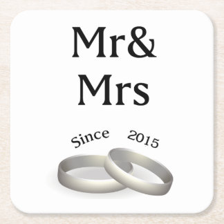2nd anniversary matching Mr. And Mrs. Since 2015 Square Paper Coaster