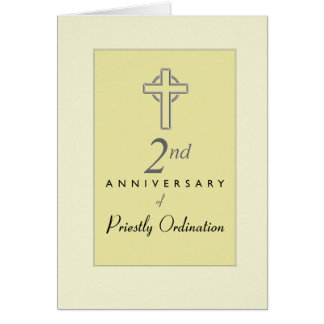 2nd Anniversary of Priest with Embossed Cross, Re Card