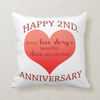 2nd. Anniversary Throw Pillow
