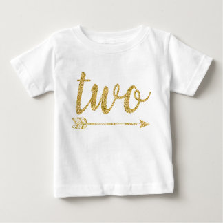 2nd Birthday Baby Glitter-Print Baby T-Shirt