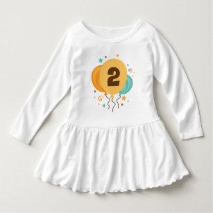 2nd Birthday Balloons 2 Year Old T Shirt Dress