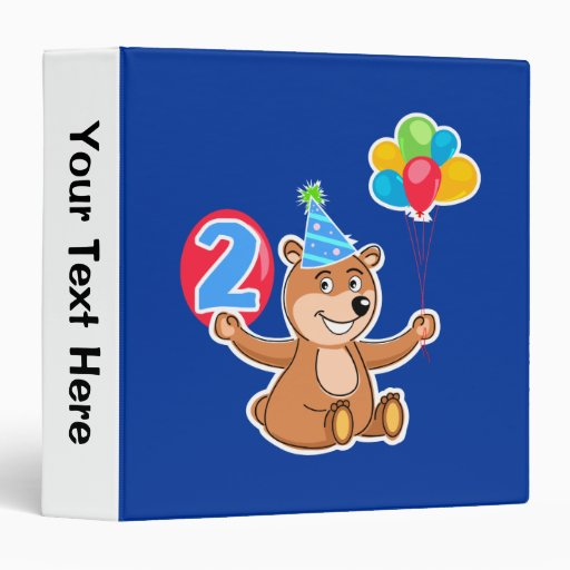 2nd Birthday Bear with Balloons 3 Ring Binders