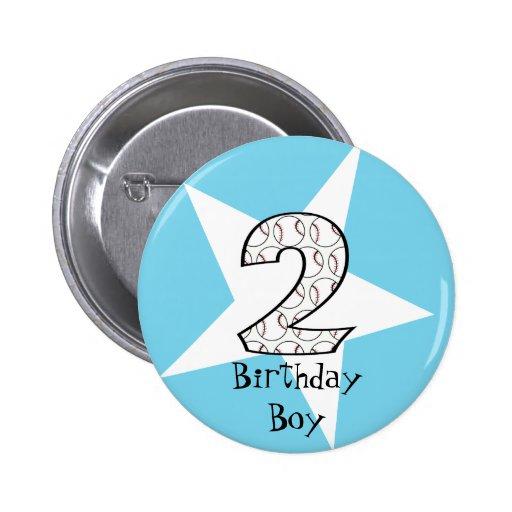 2nd Birthday Blue Baseball Star Button