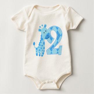 2nd Birthday Blue Giraffe Baby Bodysuit