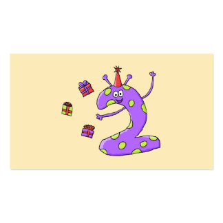 2nd Birthday Cartoon in Purple. Business Card