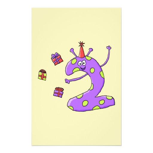 2nd Birthday Cartoon in Purple. Flyers