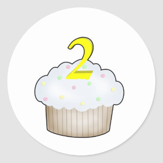 2nd Birthday Cupcake Classic Round Sticker