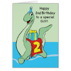 2nd Birthday Dinosaur Boy, with Present and Hat Card