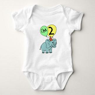 2nd Birthday Elephant Baby Bodysuit