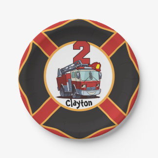 2nd Birthday Fire Truck 7 Inch Paper Plate