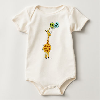 2nd Birthday Giraffe with Balloons Baby Bodysuit