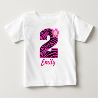 2nd Birthday Girl Hot Pink & Black Zebra Baby T-Shirt