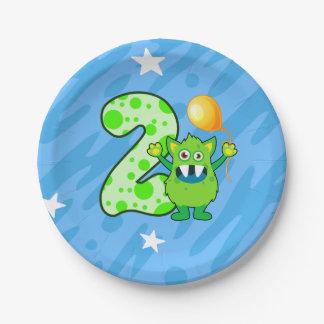 2nd Birthday Green Monster Paper Plate