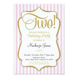 2nd Birthday Invitation Girls Two Years Pink Gold