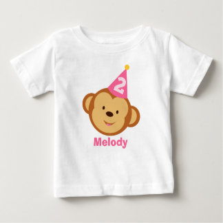 2nd Birthday Monkey Girl with Personalized Name Baby T-Shirt