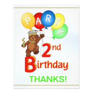 2nd Birthday Party BearThank You Personalized Invitation