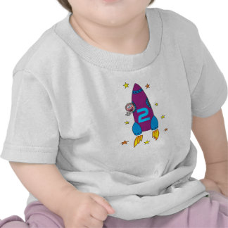 2nd Birthday Party Cartoon Space Rocket Shirt