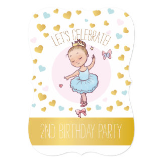2nd Birthday Party   Princess Ballerina in Tutu Card