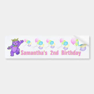 2nd Birthday Party Purple Princess Bear Car Bumper Sticker