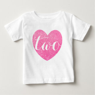 2nd Birthday Pink Glitter Heart-Print Personalize Baby T-Shirt