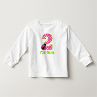 2nd Birthday Pink Green Ladybug Personalized Shirt