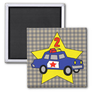2nd Birthday Police Officer Square Magnet
