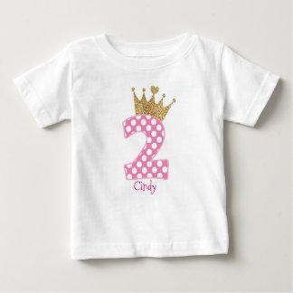 2nd Birthday|Polka Dots|Glitter-Print Crown Baby T-Shirt
