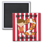 2nd Birthday Red and White Basketball Player Square Magnet