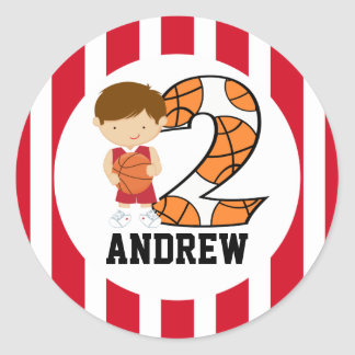2nd Birthday Red and White Basketball Player v2 Classic Round Sticker
