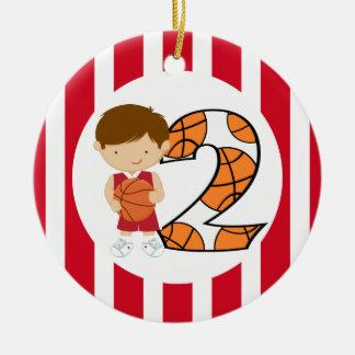 2nd Birthday Red and White Basketball Player v2 Round Ceramic Ornament